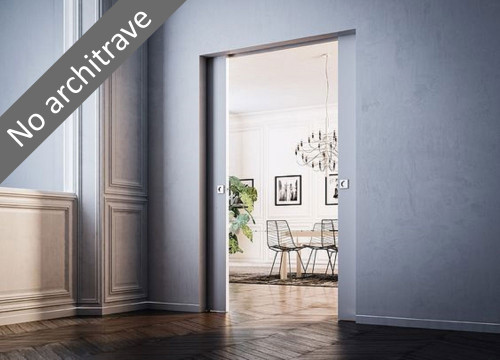 Double Syntesis® Flush Pocket Door System- no architrave or jambs.
