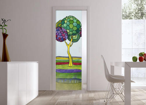 Classic Glass Pocket Door System Handpainted BEIRA