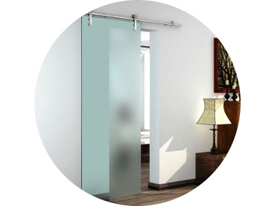 The surface mounted sliding door range includes the Vetroglide wall mounted glass door shown here as well as sliding door gear.