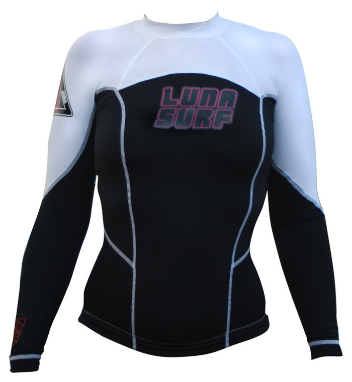 Lunasurf Womens Long Sleeved Indo Rashie White Black