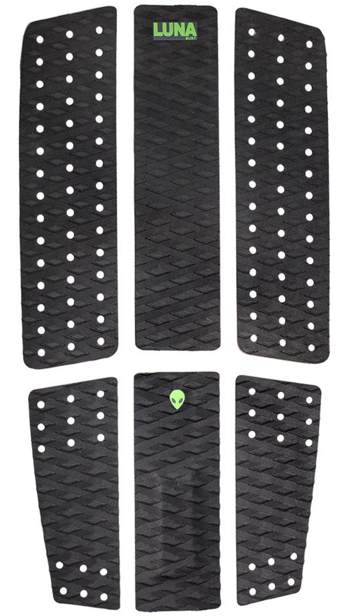 LUNASURF 6 Piece Surfboard Front Foot Traction Pad Black