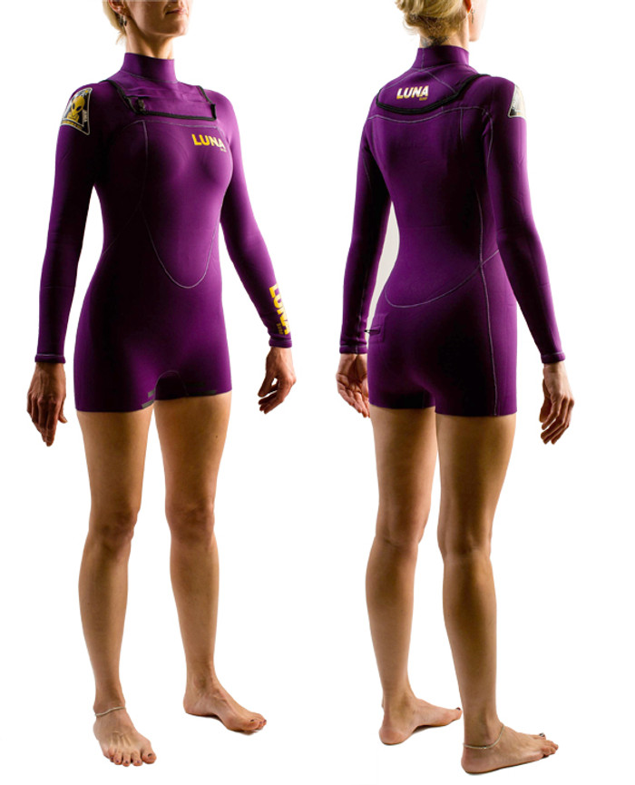Lunasurf HYBRID 2mm Womens Long Arm Short Leg Wetsuit Deep Violet