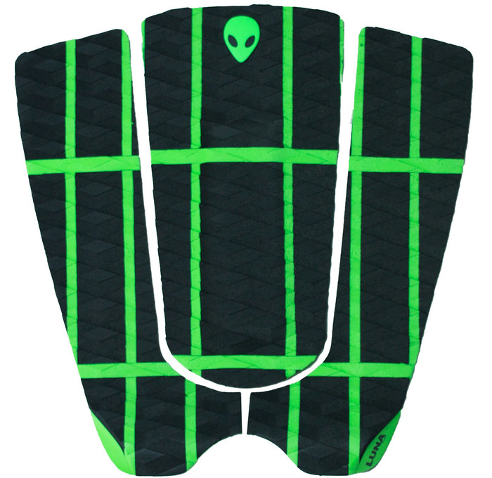 LUNASURF Alien Crosshatch 3 Piece Tail Pad Green Black