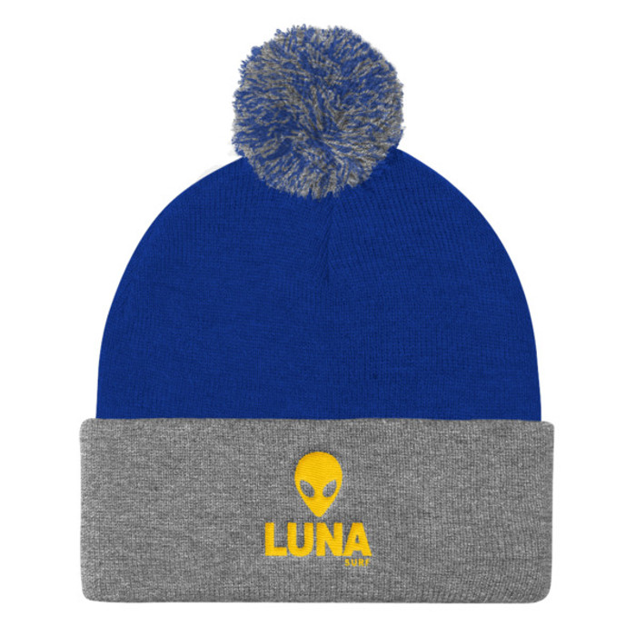 Alien Yellow Pom Pom Knit Cap