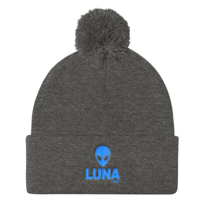 Alien Blue Pom Pom Knit Cap