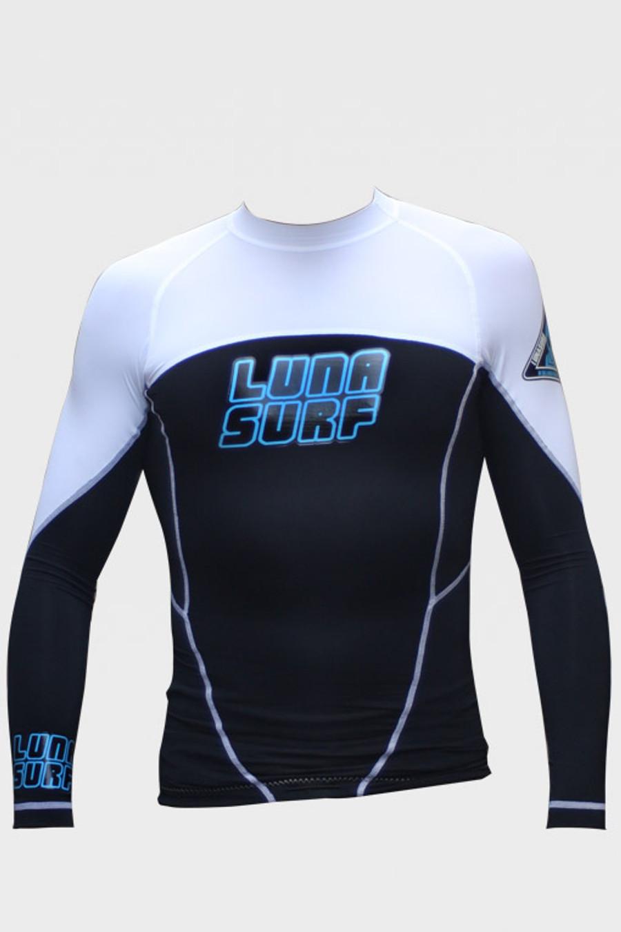 Lunasurf Mens Long Sleeved Indo Rashie White Black
