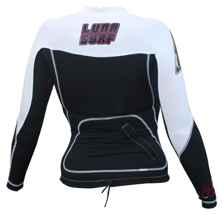 Lunasurf Womens Long Sleeved Indo Rashie White Black