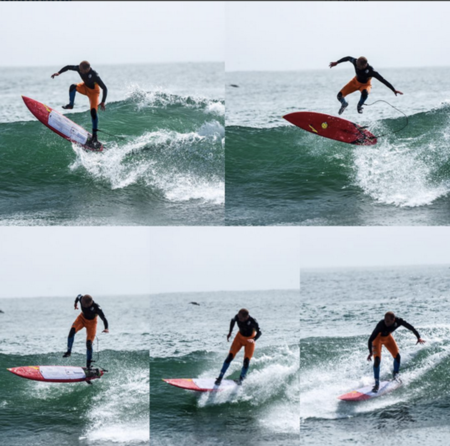 Zoltan Torkos- kickflip on Lunasurf full deck grip - Santa Cruz, California, USA
