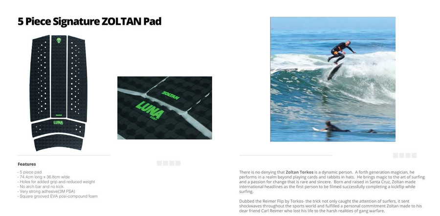 5 piece square grooved Zoltan front pad being surfing kickflipped