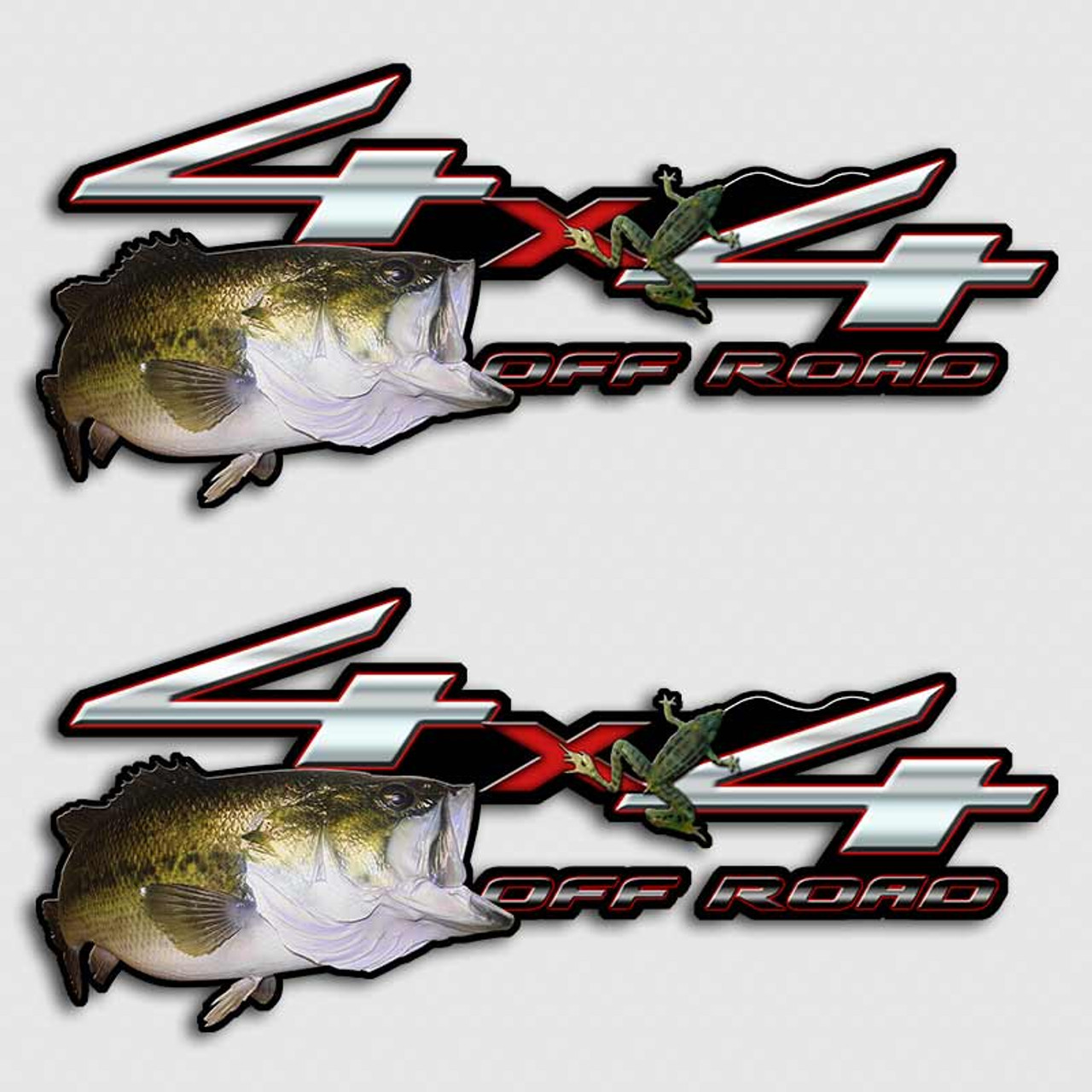 4x4 bass froggin off road truck decals
