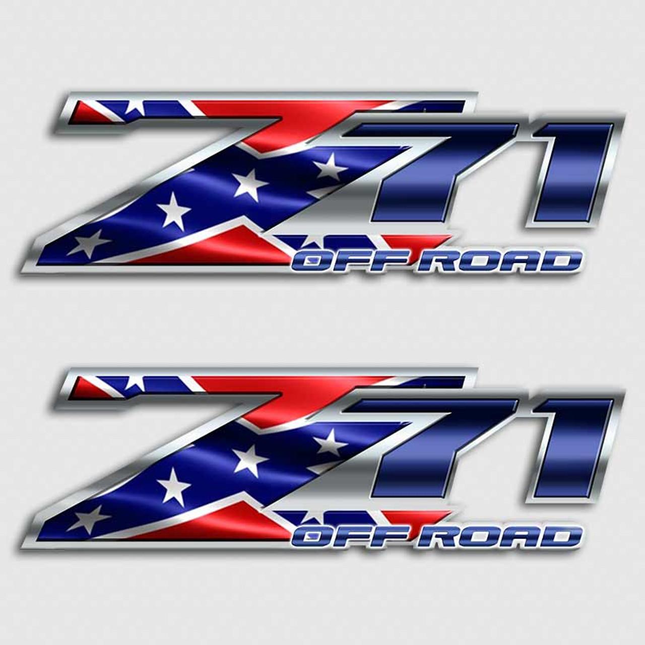z71 rebel flag off road sticker set aftershock decals. Black Bedroom Furniture Sets. Home Design Ideas