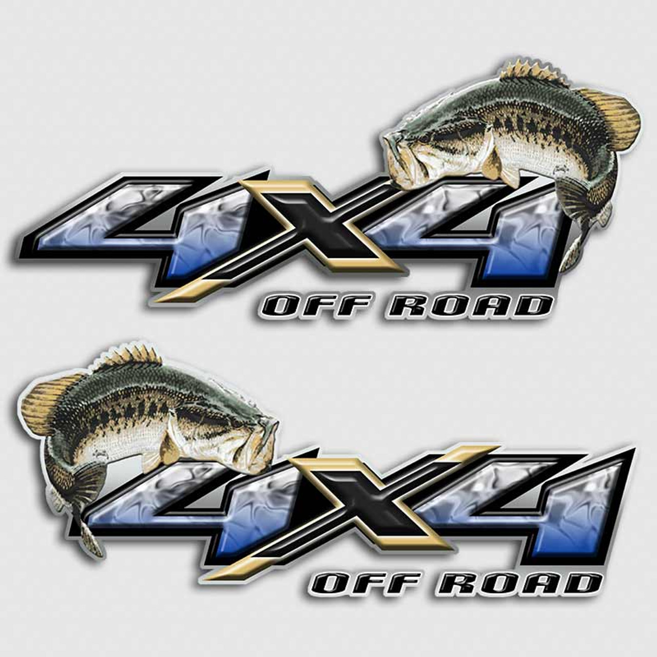 Bass fishing 4x4 truck decals off road silverado fish for Blue bass fish