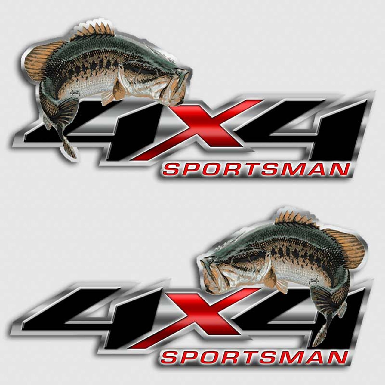 4x4 bass sportsman red off road truck decals