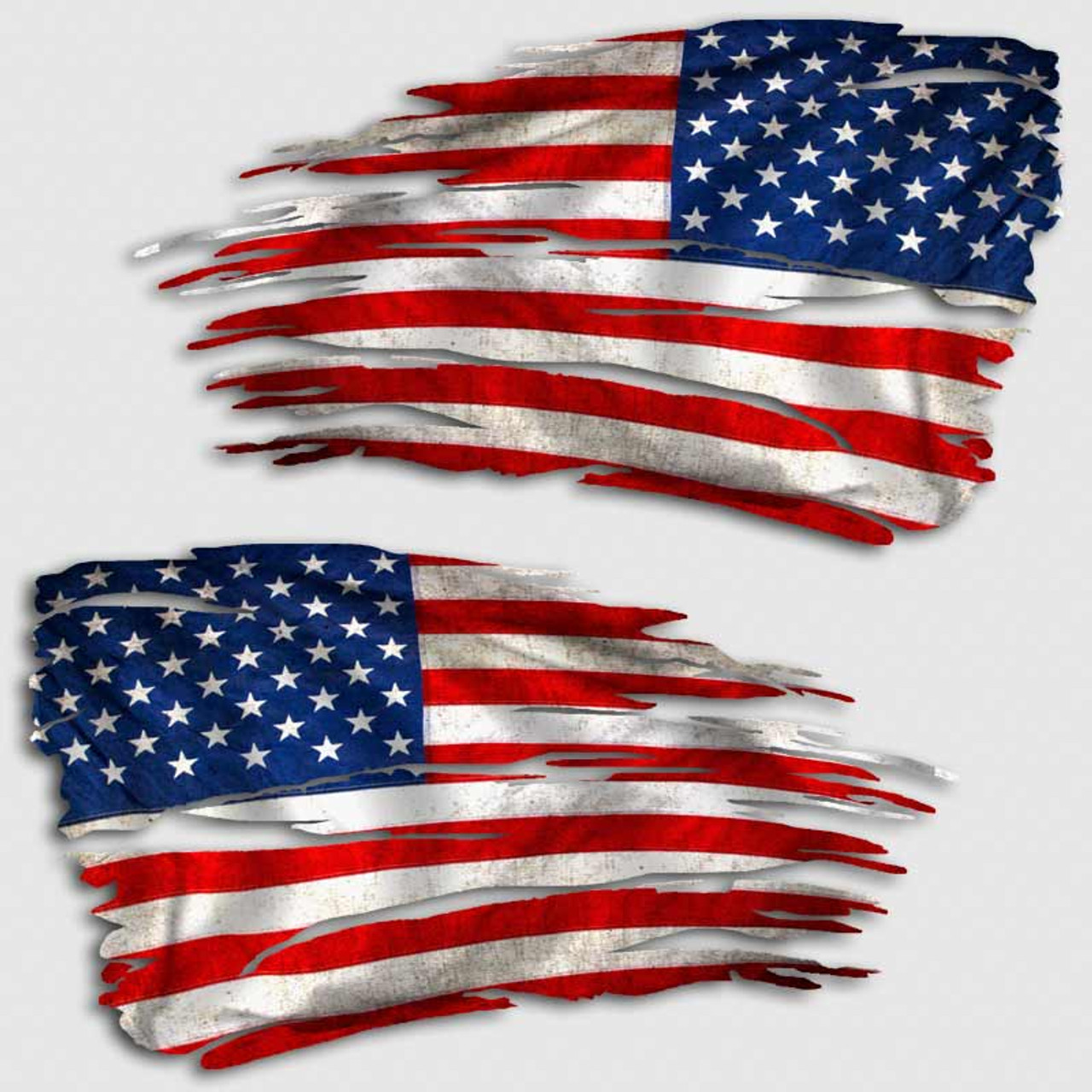 Tattered american flag distressed decal set