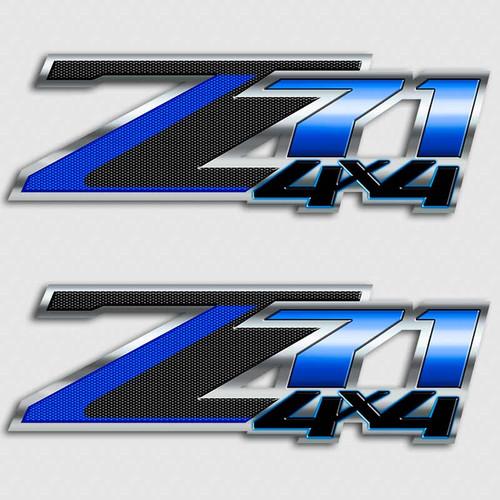 American Blue Carbon Fiber Z71 4x4 Decal Set