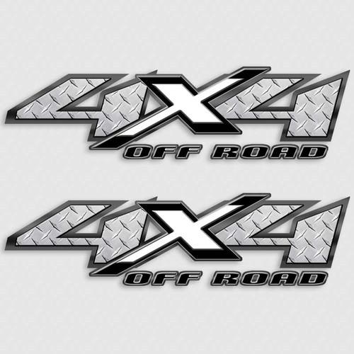 4x4 Diamond Plate White Shadow X Truck Decals
