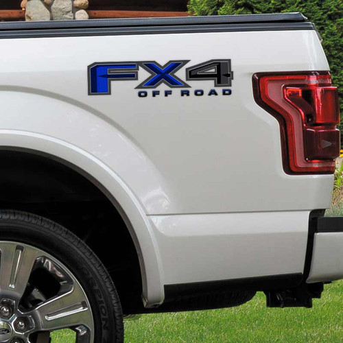 Blue FX4 Carbon Fiber Truck Decals