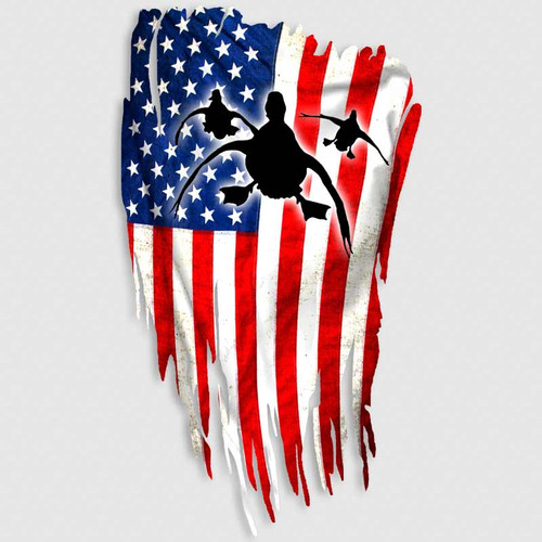 Distressed American Flag Duck Hunting Decal