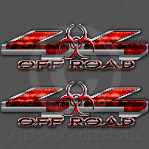4x4 Biohazard Red Skull Decals