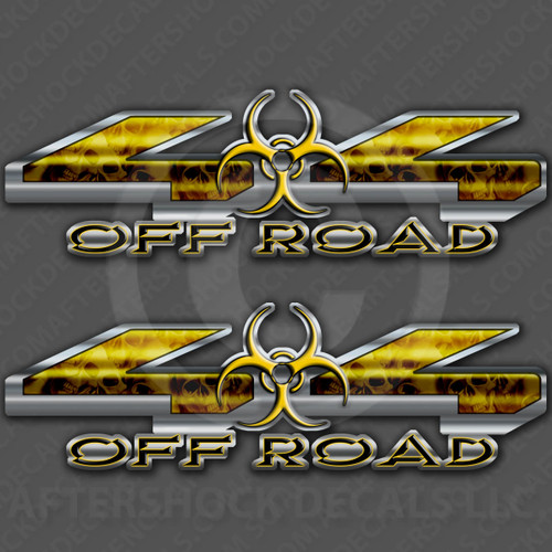 4x4 Biohazard Yellow Skull Decals