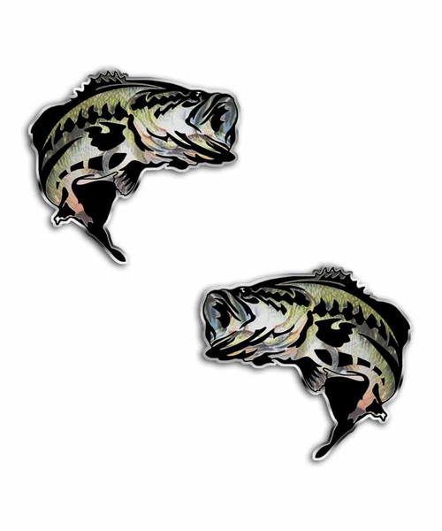 Largemouth Bass Jumping Fish Sticker Set