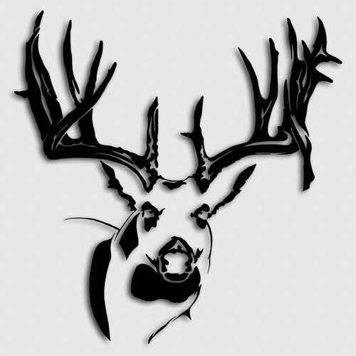 Whitetail Big Buck Head Decal