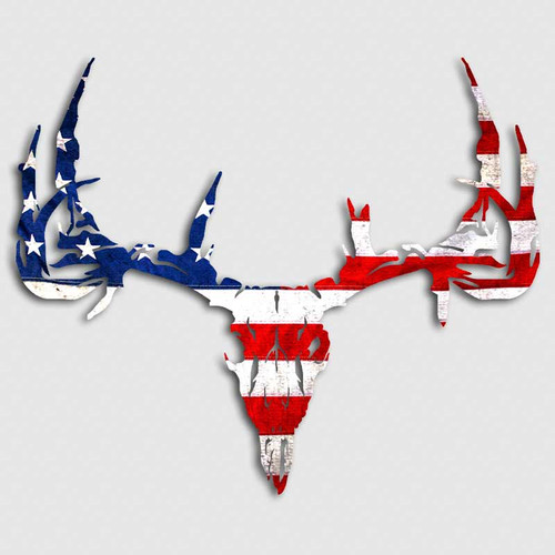 American Flag Deer Skull Decal