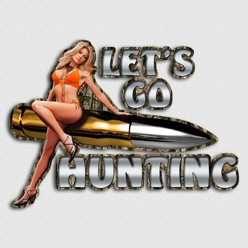 Let's Go Hunting Bikini Girl Deer Sticker
