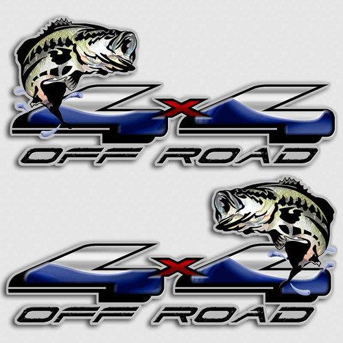 Bass fishing 4x4 truck decals off road silverado fish for Bass fishing decals