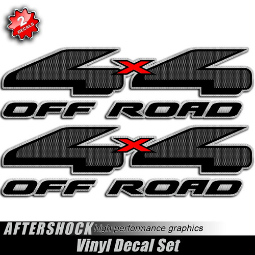 4x4 Carbon Fiber Black and Red Decals