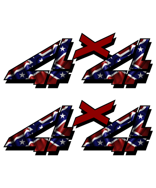 4x4 Rebel Flag Sticker set