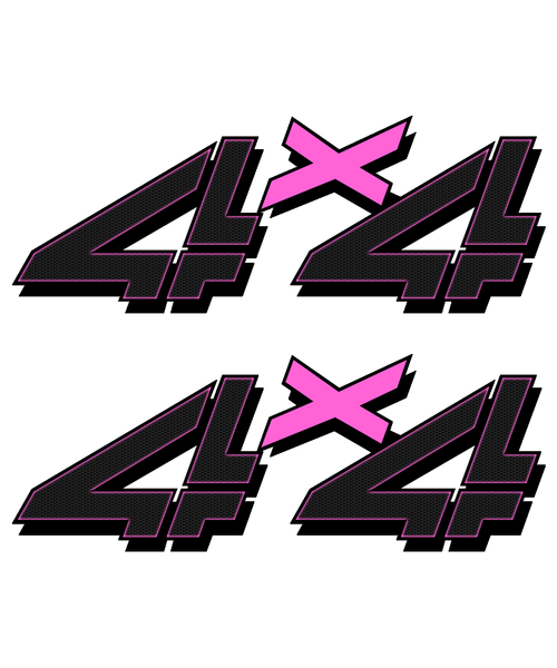 Pink Black Carbon 4x4 Truck Sticker set