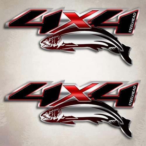 Steelhead Red 4x4 Decals