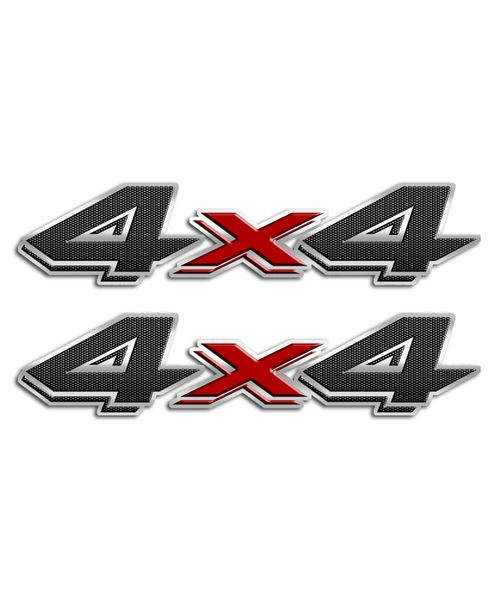 4x4 Carbon Fiber Red Stickers