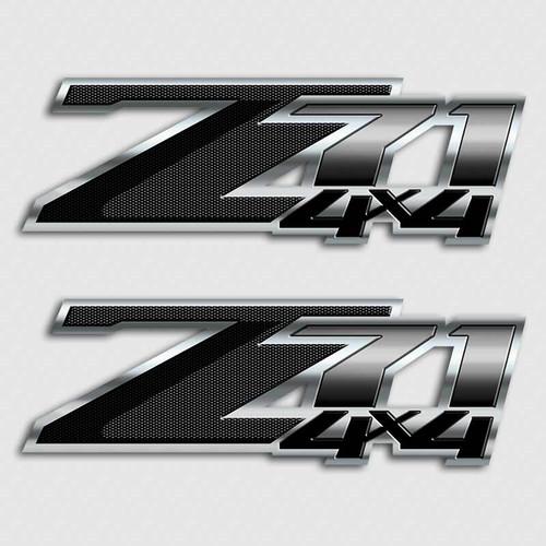 Carbon Fiber Z71 4x4 Black Stickers