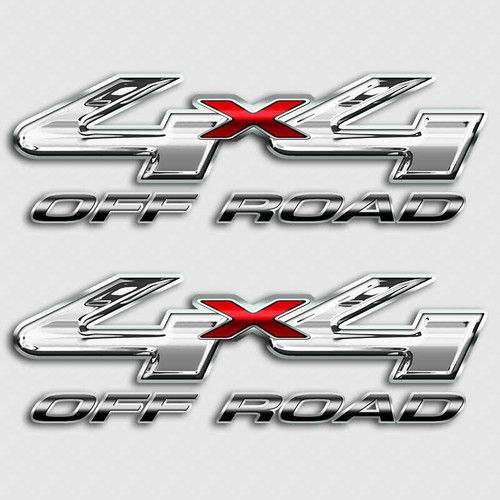 F-250 4x4 Chrome Style Off Road Red Truck Decals