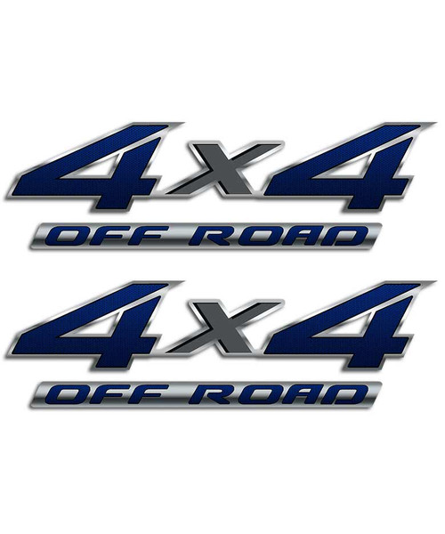 4x4 Blue Carbon Fiber Sticker Set