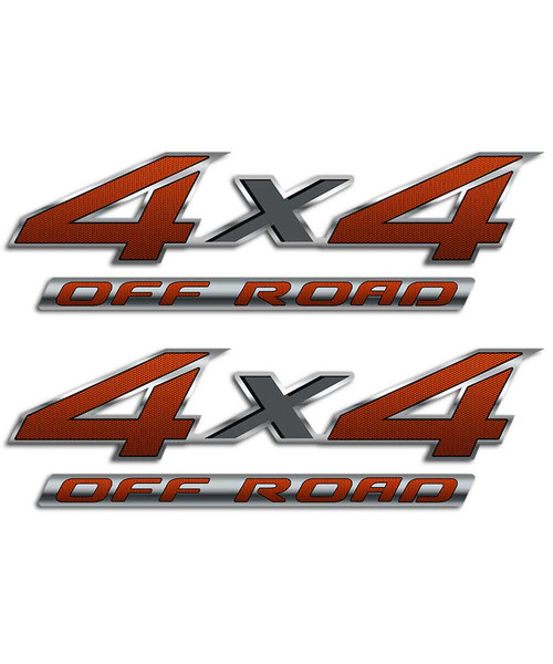 4x4 Orange Carbon Fiber Sticker Set