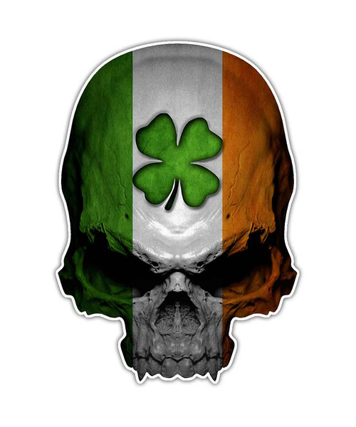 Irish Clover Ireland Flag Skull Sticker