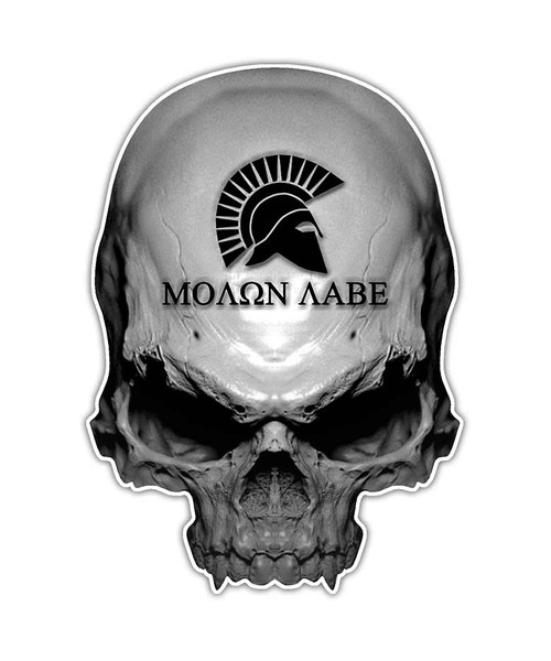Molon Labe Gun Skull Sticker