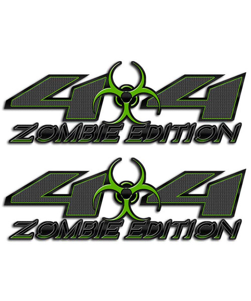 Zombie 4x4 Biohazard Carbon Fiber Green Sticker set