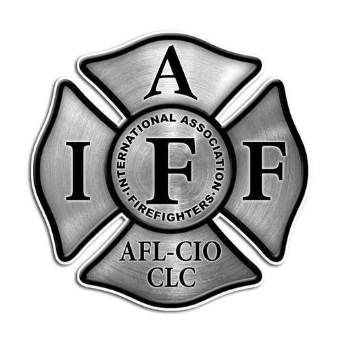 Stainless Steel Effect IAFF Cross Sticker