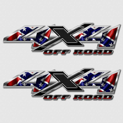 Rebel Flag 4x4 Confederate Shadow X Truck Decals