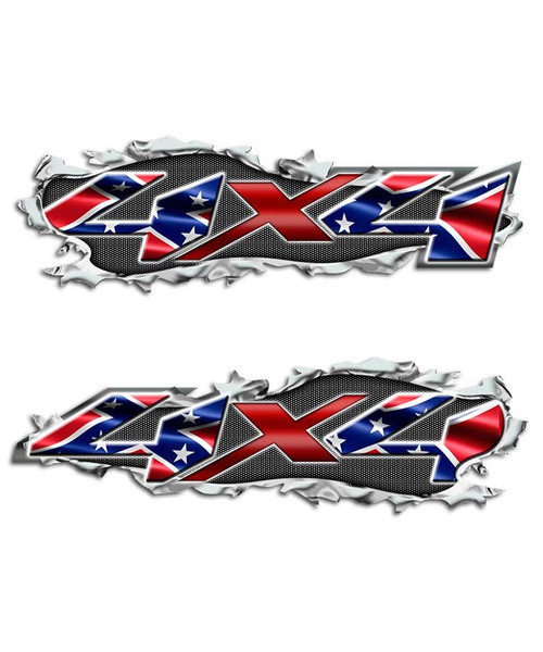 Ripped Rebel Flag 4x4 Confederate Torn Metal Decals
