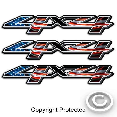 American Flag Silverado 4x4 Decals