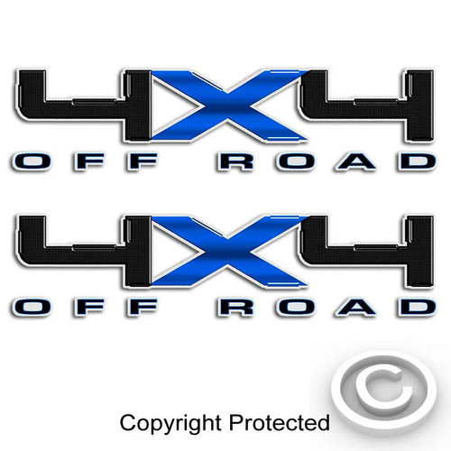 Carbon Fiber Blue 4x4 Ford Decal Set