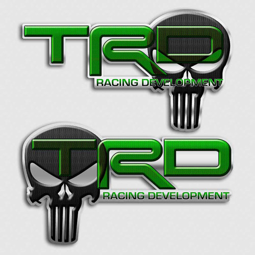 Green TRD Punisher Skull Toyota Decals