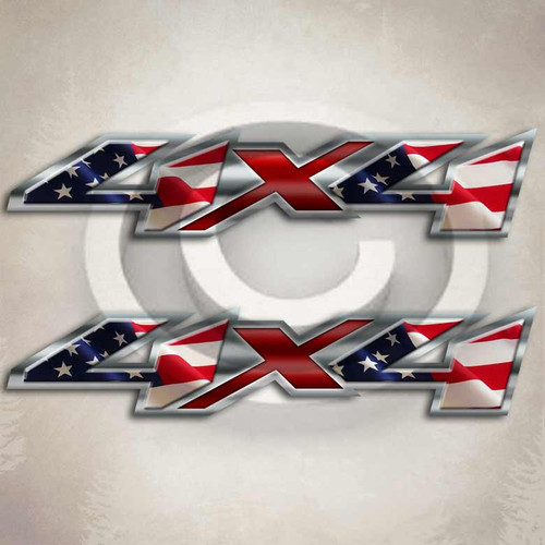 Chevy Style American Flag Truck Decals