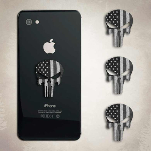 Punisher Subdued American Flag Skull Sticker iphone Android Decal Set
