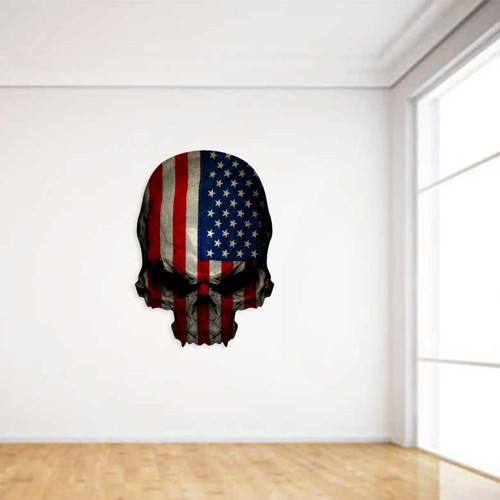 American Flag Skull Wall Decal